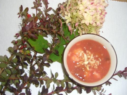 herbstliche Impressionen mit einer Frühstückssuppe aus Zwetschgen mit Dinkelnocken und Mandeln